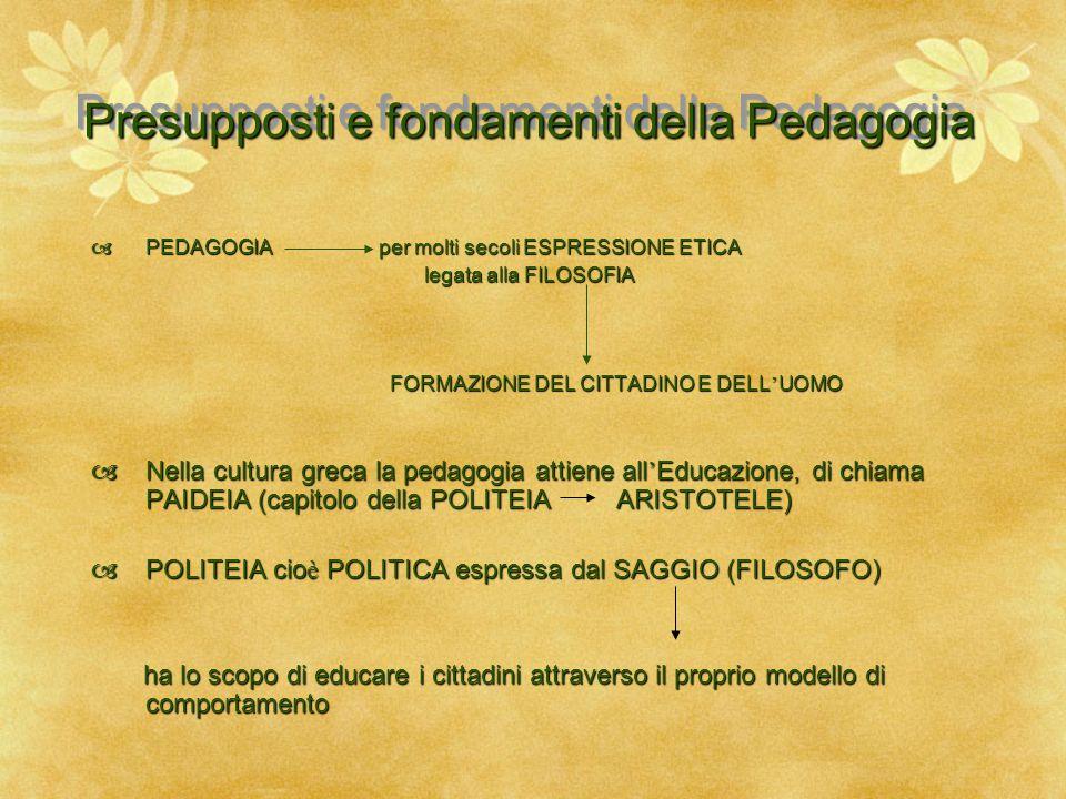 Presupposti e fondamenti della Pedagogia  PEDAGOGIA per molti secoli ESPRESSIONE ETICA legata alla FILOSOFIA legata alla FILOSOFIA FORMAZIONE DEL CIT