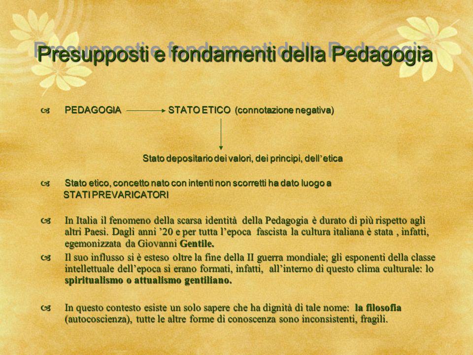 Presupposti e fondamenti della Pedagogia  PEDAGOGIA STATO ETICO (connotazione negativa) Stato depositario dei valori, dei principi, dell ' etica Stat