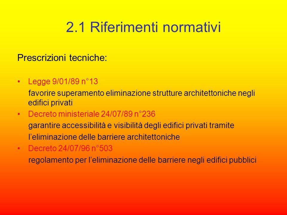 2.1 Riferimenti normativi Prescrizioni tecniche: Legge 9/01/89 n°13 favorire superamento eliminazione strutture architettoniche negli edifici privati