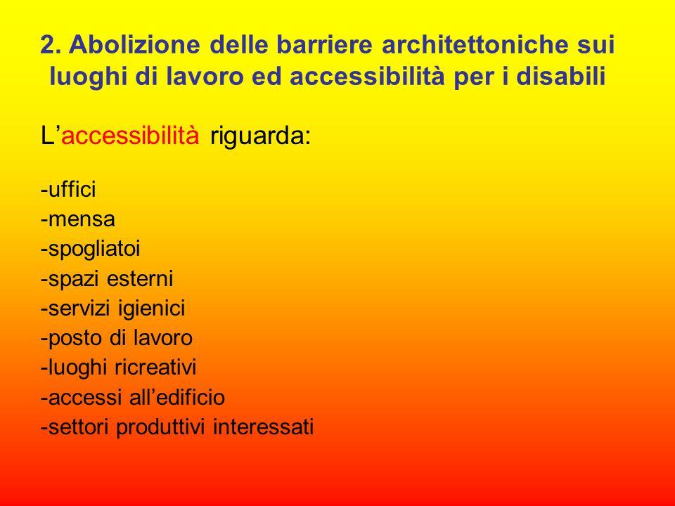 2. Abolizione delle barriere architettoniche sui luoghi di lavoro ed accessibilità per i disabili L'accessibilità riguarda: -uffici -mensa -spogliatoi