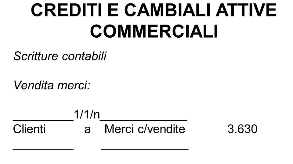 CREDITI E CAMBIALI ATTIVE COMMERCIALI Scritture contabili Vendita merci: _________1/1/n_____________ Clienti a Merci c/vendite 3.630 _________ _______
