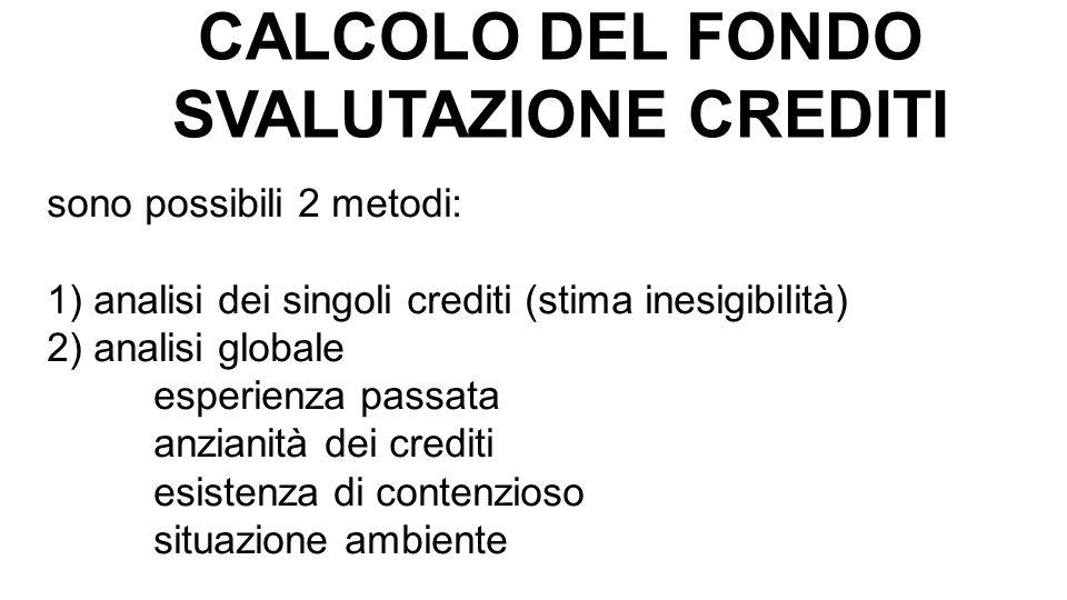 CALCOLO DEL FONDO SVALUTAZIONE CREDITI sono possibili 2 metodi: 1) analisi dei singoli crediti (stima inesigibilità) 2) analisi globale esperienza pas