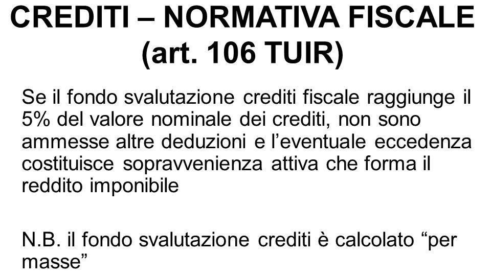 CREDITI – NORMATIVA FISCALE (art. 106 TUIR) Se il fondo svalutazione crediti fiscale raggiunge il 5% del valore nominale dei crediti, non sono ammesse