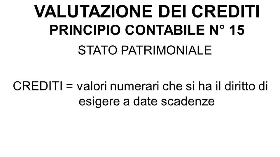VALUTAZIONE DEI CREDITI PRINCIPIO CONTABILE N° 15 STATO PATRIMONIALE CREDITI = valori numerari che si ha il diritto di esigere a date scadenze