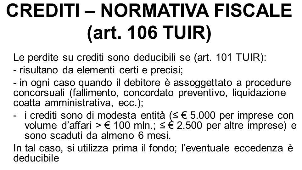 CREDITI – NORMATIVA FISCALE (art. 106 TUIR) Le perdite su crediti sono deducibili se (art. 101 TUIR): - risultano da elementi certi e precisi; - in og