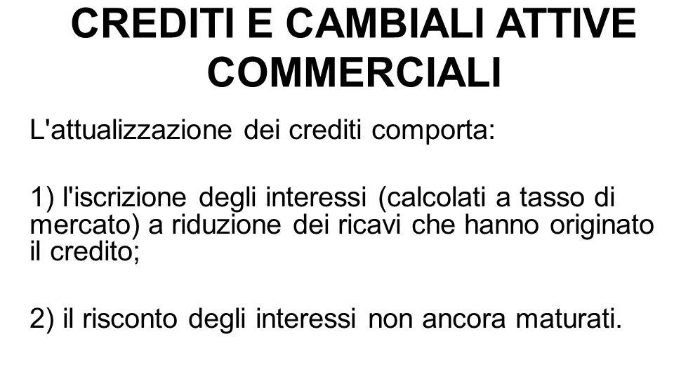 CREDITI E CAMBIALI ATTIVE COMMERCIALI L'attualizzazione dei crediti comporta: 1) l'iscrizione degli interessi (calcolati a tasso di mercato) a riduzio