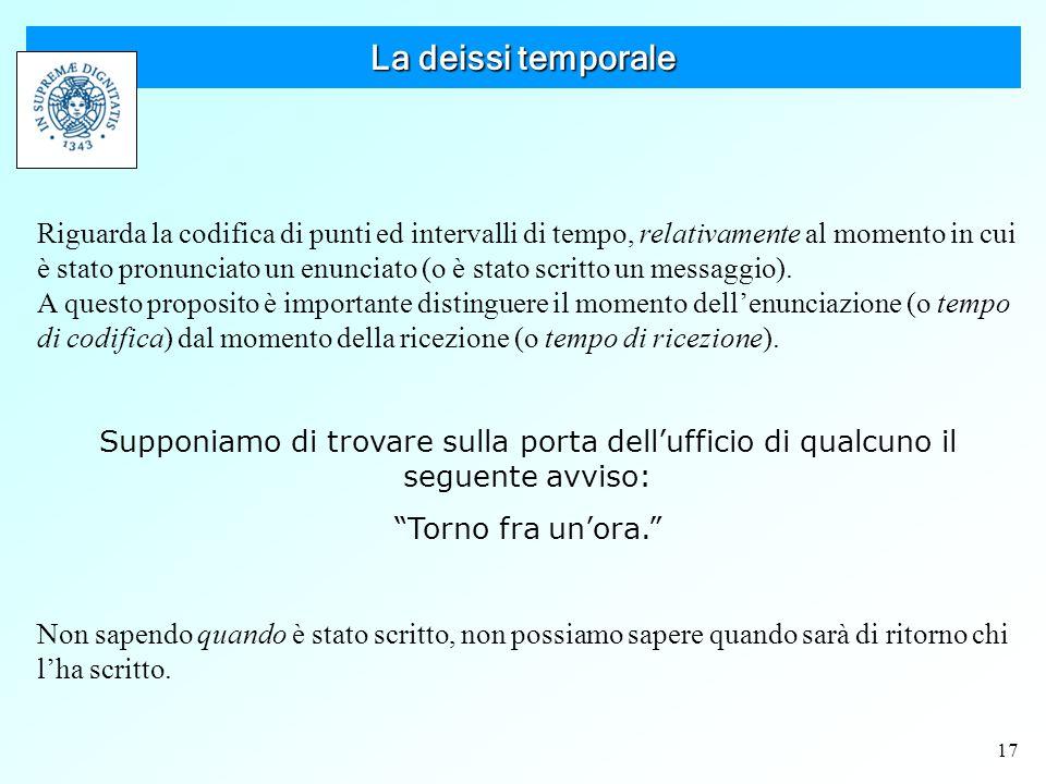 17 La deissi temporale Riguarda la codifica di punti ed intervalli di tempo, relativamente al momento in cui è stato pronunciato un enunciato (o è stato scritto un messaggio).