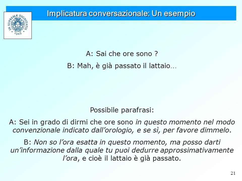 21 Implicatura conversazionale: Un esempio A: Sai che ore sono .