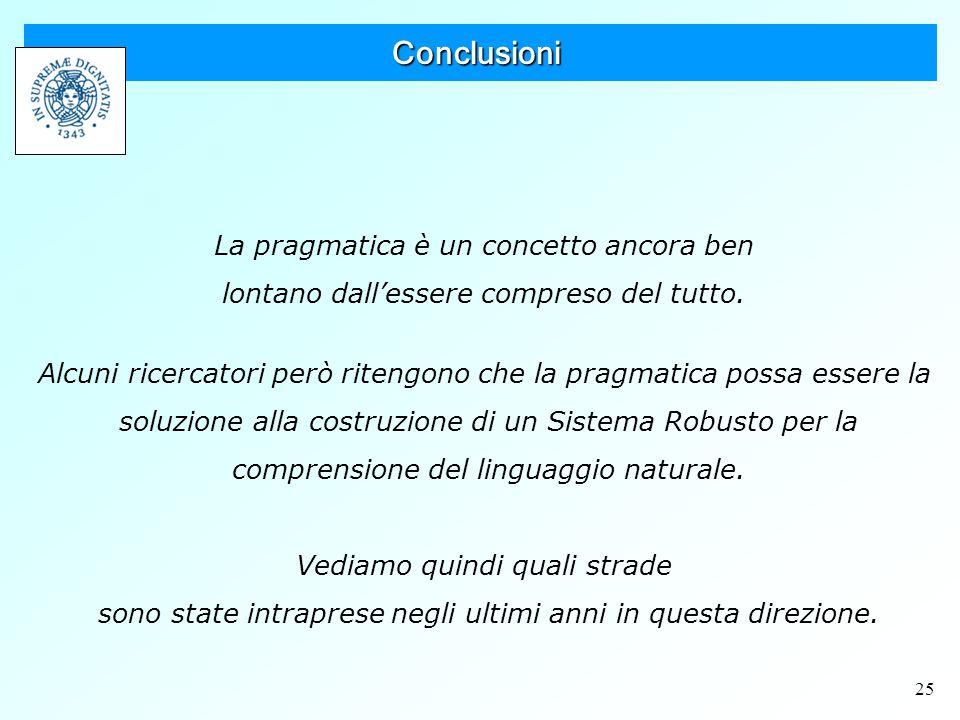 25 Conclusioni La pragmatica è un concetto ancora ben lontano dall'essere compreso del tutto.