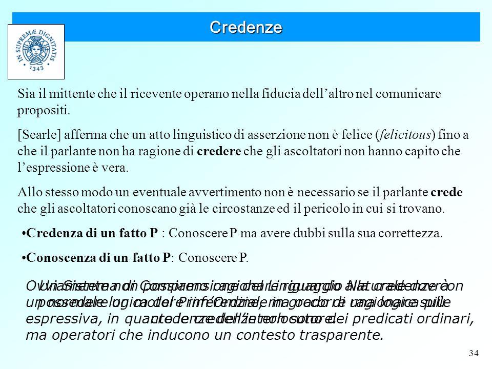 34 Credenze Sia il mittente che il ricevente operano nella fiducia dell'altro nel comunicare propositi.