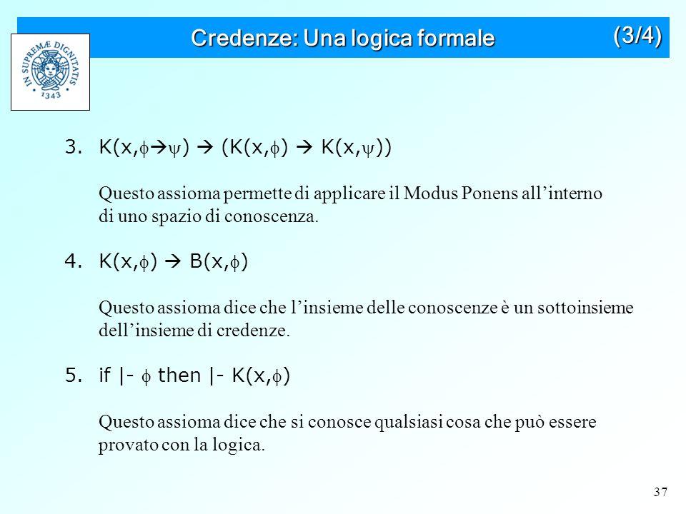37 Credenze: Una logica formale (3/4) 3.K(x,  )  (K(x,)  K(x,)) Questo assioma permette di applicare il Modus Ponens all'interno di uno spazio di conoscenza.