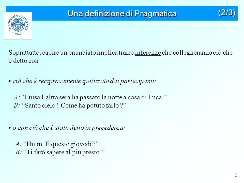 6 Una definizione di Pragmatica Vantaggi Riconosce che la pragmatica si occupa sostanzialmente dell'inferenza.