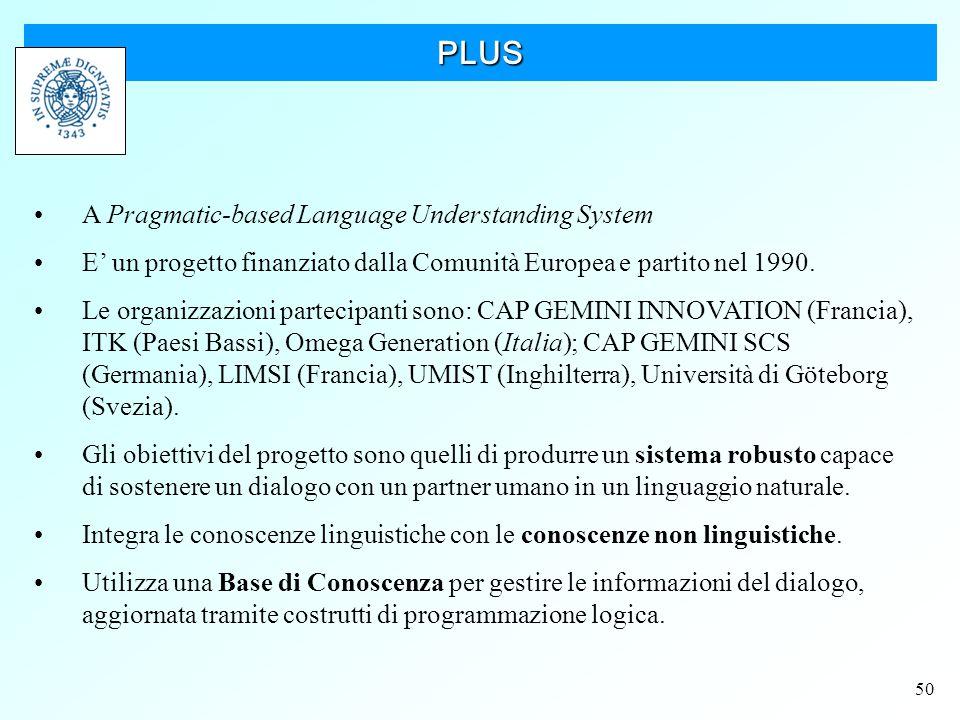 50 PLUS A Pragmatic-based Language Understanding System E' un progetto finanziato dalla Comunità Europea e partito nel 1990.