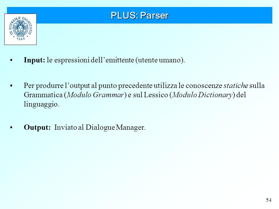 54 PLUS: Parser Input: le espressioni dell'emittente (utente umano).