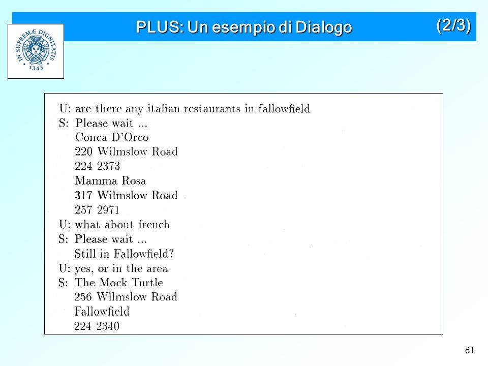 61 PLUS: Un esempio di Dialogo (2/3)