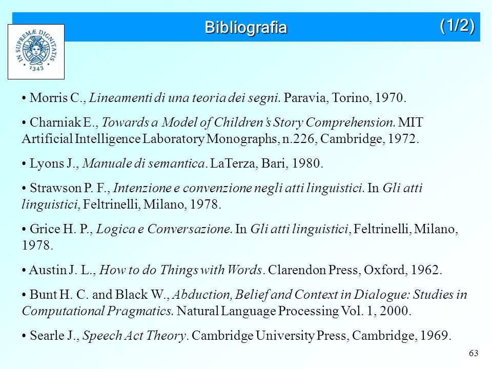 63 Bibliografia Morris C., Lineamenti di una teoria dei segni.