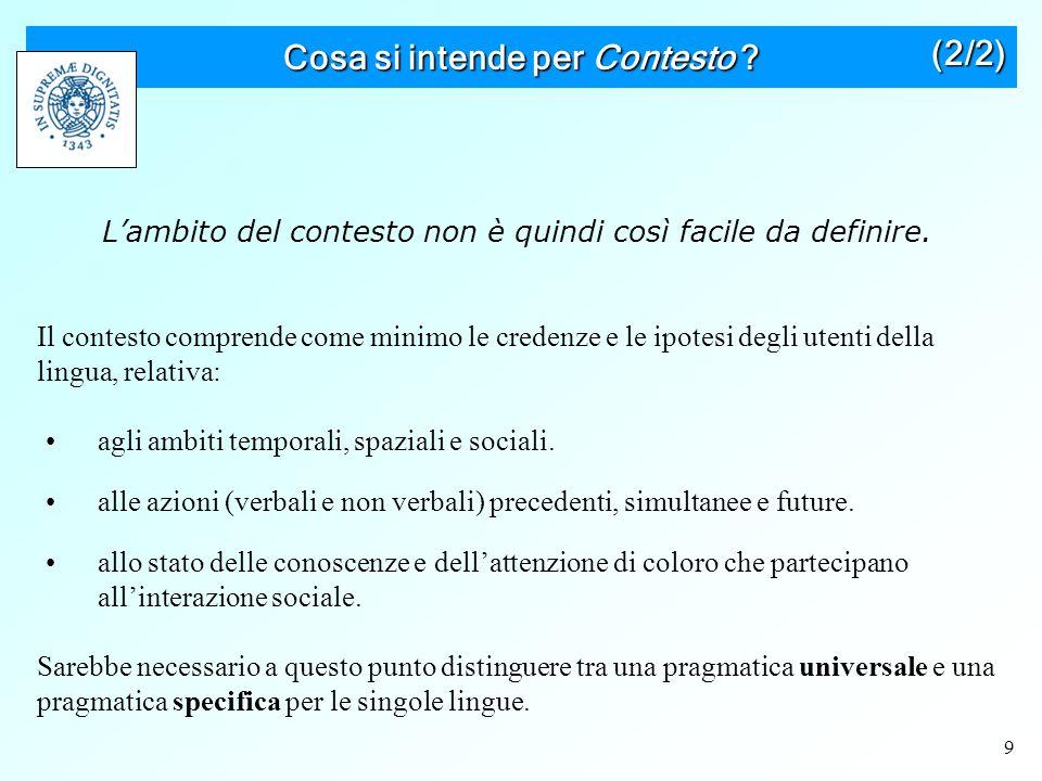 20 Implicatura conversazionale E' un tipo di inferenza fatta sia sul contenuto di ciò che è stato detto sia su assunti specifici sulla natura cooperativa della comune interazione verbale.