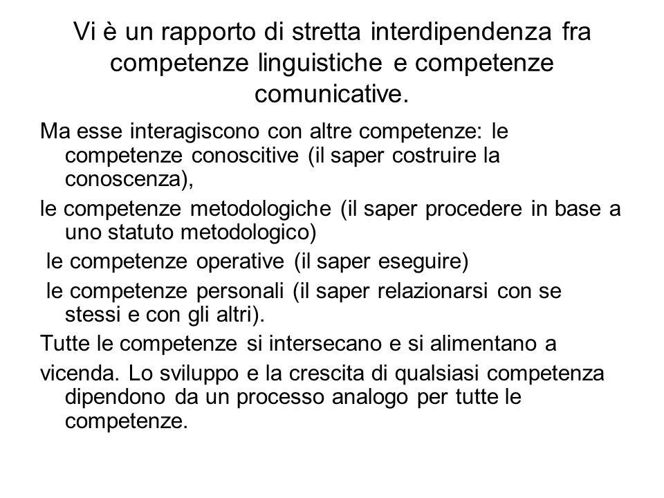 Vi è un rapporto di stretta interdipendenza fra competenze linguistiche e competenze comunicative.