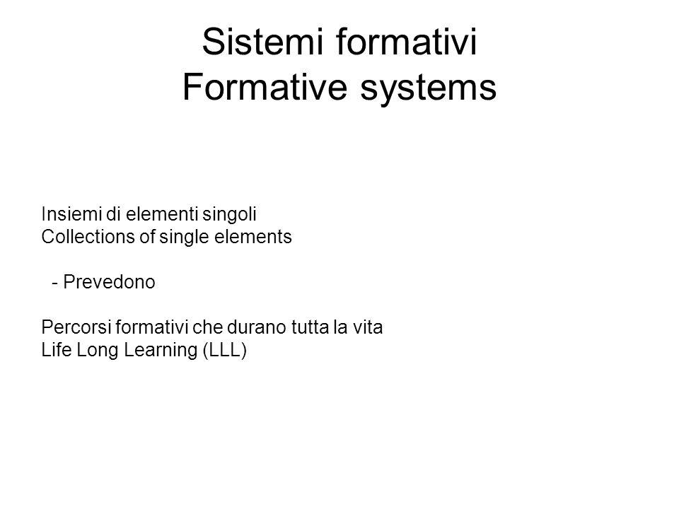 Sistemi formativi Formative systems Insiemi di elementi singoli Collections of single elements - Prevedono Percorsi formativi che durano tutta la vita Life Long Learning (LLL)