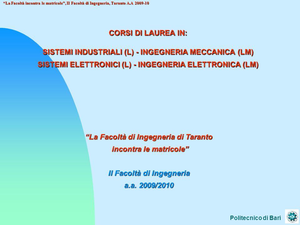 Politecnico di Bari La Facoltà incontra le matricole , II Facoltà di Ingegneria, Taranto A.A 2009-10 CORSO DI LAUREA IN INGEGNERIA DEI SISTEMI INDUSTRIALI ED ELETTRONICI I e II anno comuni matematica, fisica, chimica, … III anno, SISTEMI INDUSTRIALI MECCANICA APPLICATA, TECNOLOGIA MECCANICA, ENERGETICA, IMPIANTI INDUSTRIALI, ECONOMIA AZIENDALE, PROGETTAZIONE MECCANICA III anno, SISTEMI ELETTRONICI ELETTRONICA, CAMPI E.M., COMUNICAZIONI ELETTRICHE, INFORMATICA,CONTROLLI AUTOMATICI, MISURE ELETTRONICHE