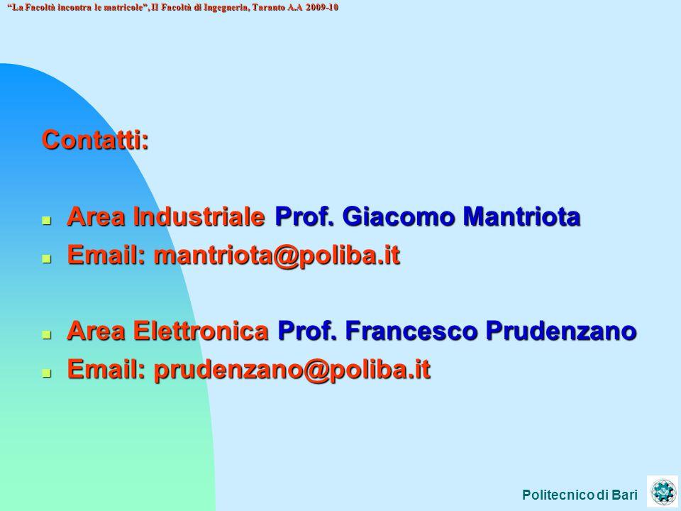 Politecnico di Bari La Facoltà incontra le matricole , II Facoltà di Ingegneria, Taranto A.A 2009-10 Contatti: n Area Industriale Prof.