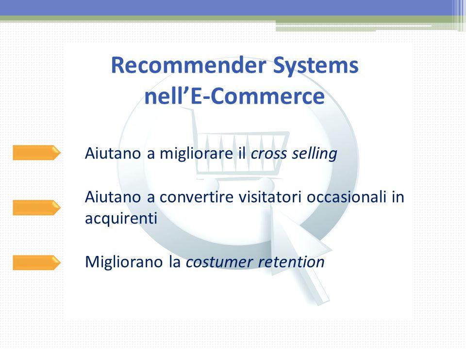 Recommender Systems nell'E-Commerce Aiutano a migliorare il cross selling Aiutano a convertire visitatori occasionali in acquirenti Migliorano la cost