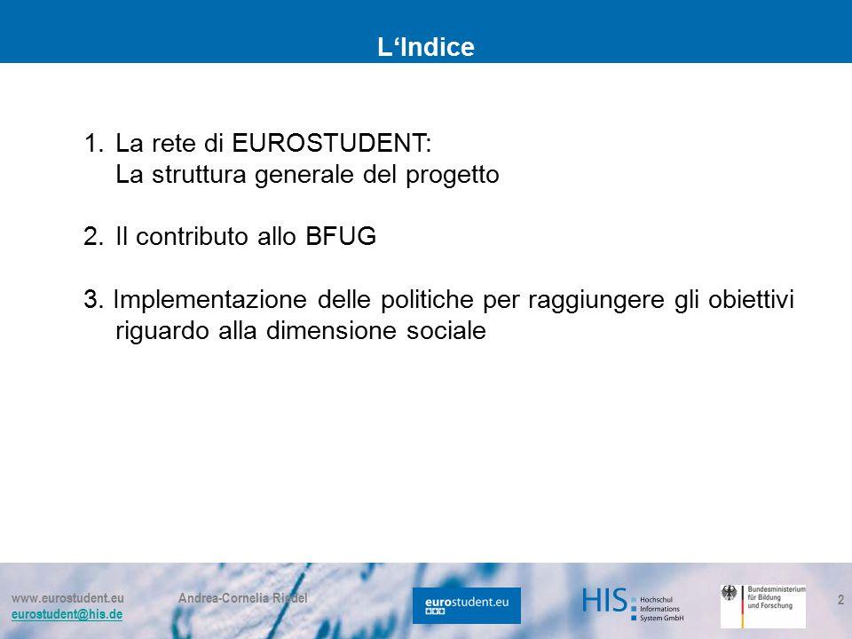 www.eurostudent.eu Andrea-Cornelia Riedel eurostudent@his.de 2 L'Indice 1.La rete di EUROSTUDENT: La struttura generale del progetto 2.Il contributo allo BFUG 3.