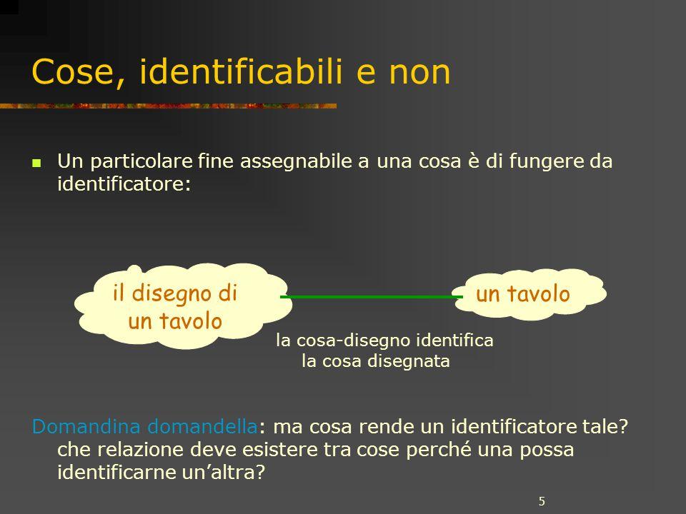 5 Cose, identificabili e non Un particolare fine assegnabile a una cosa è di fungere da identificatore: Domandina domandella: ma cosa rende un identificatore tale.