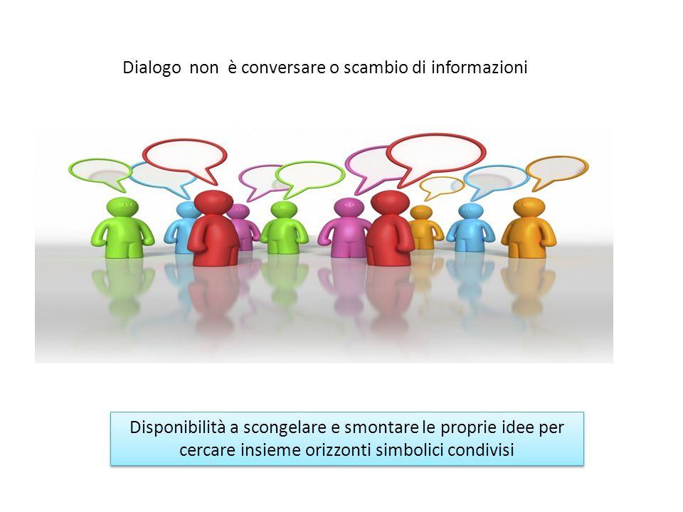Dialogo non è conversare o scambio di informazioni Disponibilità a scongelare e smontare le proprie idee per cercare insieme orizzonti simbolici condivisi