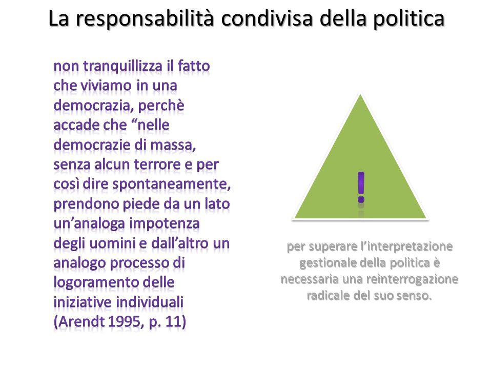 La responsabilità condivisa della politica per superare l'interpretazione gestionale della politica è necessaria una reinterrogazione radicale del suo senso.