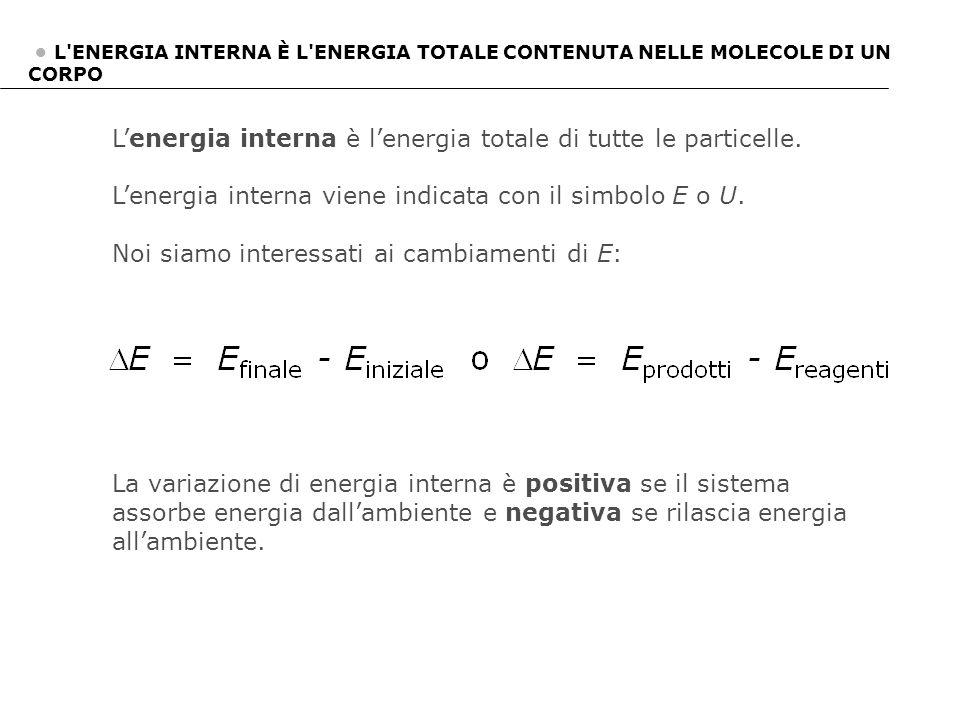 L'ENERGIA INTERNA È L'ENERGIA TOTALE CONTENUTA NELLE MOLECOLE DI UN CORPO L'energia interna è l'energia totale di tutte le particelle. L'energia inter