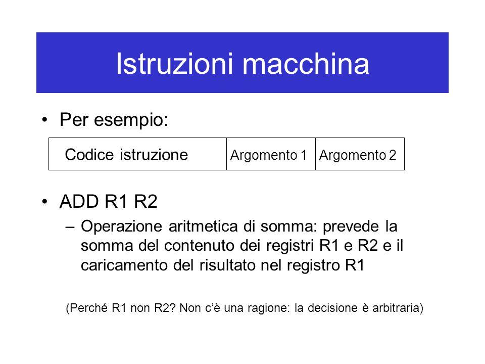 Istruzioni macchina Per esempio: ADD R1 R2 –Operazione aritmetica di somma: prevede la somma del contenuto dei registri R1 e R2 e il caricamento del risultato nel registro R1 (Perché R1 non R2.