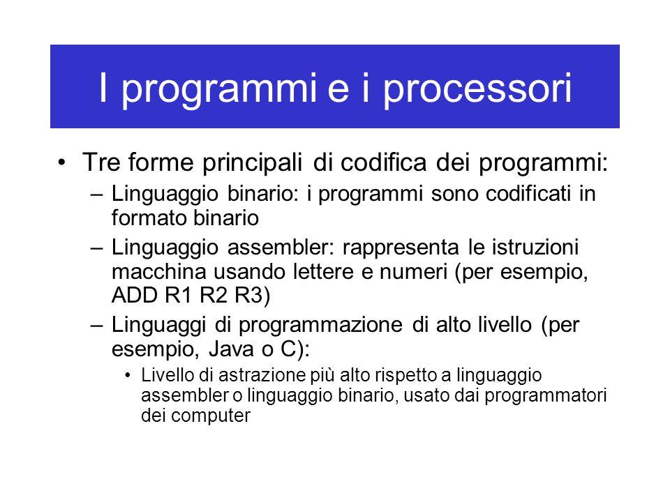 I programmi e i processori Tre forme principali di codifica dei programmi: –Linguaggio binario: i programmi sono codificati in formato binario –Linguaggio assembler: rappresenta le istruzioni macchina usando lettere e numeri (per esempio, ADD R1 R2 R3) –Linguaggi di programmazione di alto livello (per esempio, Java o C): Livello di astrazione più alto rispetto a linguaggio assembler o linguaggio binario, usato dai programmatori dei computer