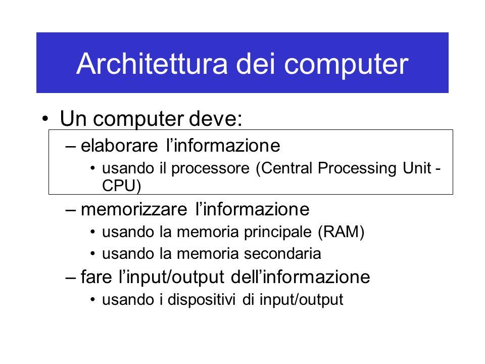Architettura dei computer Un computer deve: –elaborare l'informazione usando il processore (Central Processing Unit - CPU) –memorizzare l'informazione usando la memoria principale (RAM) usando la memoria secondaria –fare l'input/output dell'informazione usando i dispositivi di input/output
