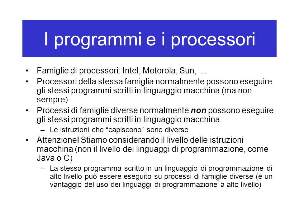 I programmi e i processori Famiglie di processori: Intel, Motorola, Sun, … Processori della stessa famiglia normalmente possono eseguire gli stessi programmi scritti in linguaggio macchina (ma non sempre) Processi di famiglie diverse normalmente non possono eseguire gli stessi programmi scritti in linguaggio macchina –Le istruzioni che capiscono sono diverse Attenzione.