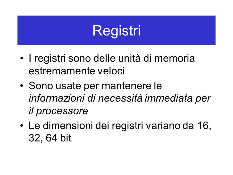 Registri I registri sono delle unità di memoria estremamente veloci Sono usate per mantenere le informazioni di necessità immediata per il processore Le dimensioni dei registri variano da 16, 32, 64 bit