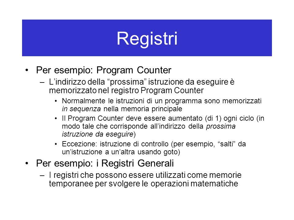 Registri Per esempio: Program Counter –L'indirizzo della prossima istruzione da eseguire è memorizzato nel registro Program Counter Normalmente le istruzioni di un programma sono memorizzati in sequenza nella memoria principale Il Program Counter deve essere aumentato (di 1) ogni ciclo (in modo tale che corrisponde all'indirizzo della prossima istruzione da eseguire) Eccezione: istruzione di controllo (per esempio, salti da un'istruzione a un'altra usando goto) Per esempio: i Registri Generali –I registri che possono essere utilizzati come memorie temporanee per svolgere le operazioni matematiche