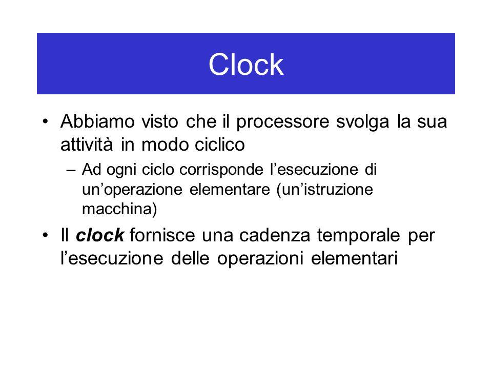 Clock Abbiamo visto che il processore svolga la sua attività in modo ciclico –Ad ogni ciclo corrisponde l'esecuzione di un'operazione elementare (un'istruzione macchina) Il clock fornisce una cadenza temporale per l'esecuzione delle operazioni elementari