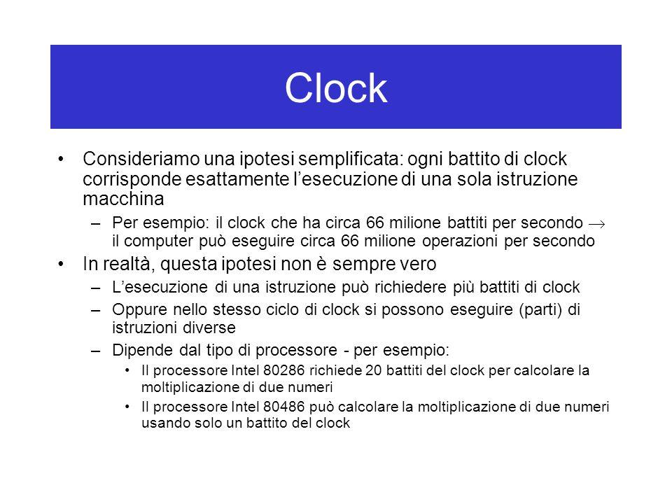 Consideriamo una ipotesi semplificata: ogni battito di clock corrisponde esattamente l'esecuzione di una sola istruzione macchina –Per esempio: il clock che ha circa 66 milione battiti per secondo  il computer può eseguire circa 66 milione operazioni per secondo In realtà, questa ipotesi non è sempre vero –L'esecuzione di una istruzione può richiedere più battiti di clock –Oppure nello stesso ciclo di clock si possono eseguire (parti) di istruzioni diverse –Dipende dal tipo di processore - per esempio: Il processore Intel 80286 richiede 20 battiti del clock per calcolare la moltiplicazione di due numeri Il processore Intel 80486 può calcolare la moltiplicazione di due numeri usando solo un battito del clock Clock