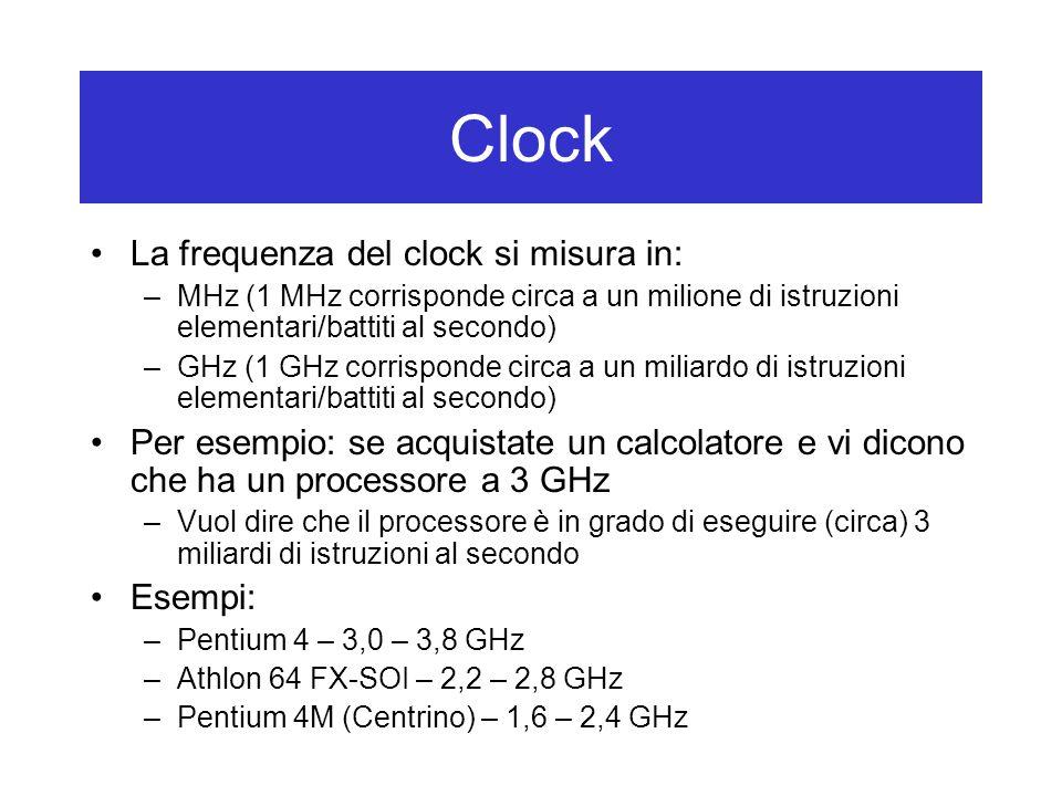 La frequenza del clock si misura in: –MHz (1 MHz corrisponde circa a un milione di istruzioni elementari/battiti al secondo) –GHz (1 GHz corrisponde circa a un miliardo di istruzioni elementari/battiti al secondo) Per esempio: se acquistate un calcolatore e vi dicono che ha un processore a 3 GHz –Vuol dire che il processore è in grado di eseguire (circa) 3 miliardi di istruzioni al secondo Esempi: –Pentium 4 – 3,0 – 3,8 GHz –Athlon 64 FX-SOI – 2,2 – 2,8 GHz –Pentium 4M (Centrino) – 1,6 – 2,4 GHz Clock