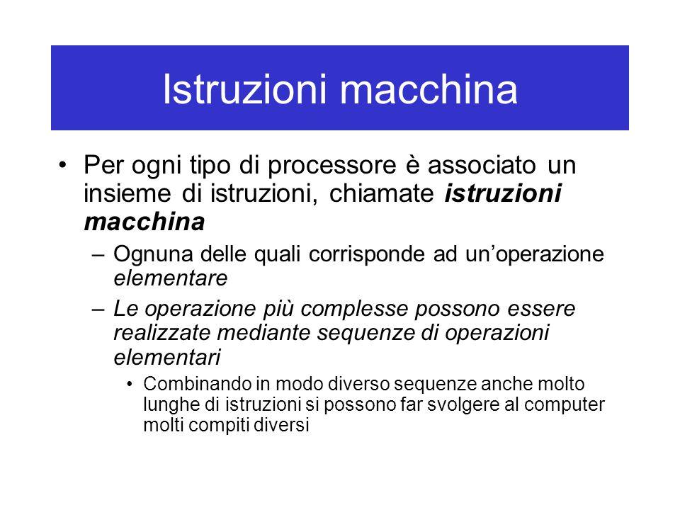 Istruzioni macchina Tre tipi di istruzioni macchina: –Istruzioni aritmetico-logiche: Per esempio, la somma di due numeri, il confronto tra due numeri per stabilire se essi sono uguali Bisogna indicare dove si trovano i dati su cui operare –Istruzioni di trasferimento dati: Indicano quali dati trasferire e in quale direzione Per esempio, dalla memoria al CPU o vice versa, dall'esterno all'interno (input) o vice versa (output) Anche bisogna indicare dove si trovano i dati su cui operare –Istruzioni di controllo: Permettono modificare il flusso di esecuzione delle istruzione (per esempio, sulla base di eventi esterni o risultati intermedi ottenuti dalle istruzioni precedenti)