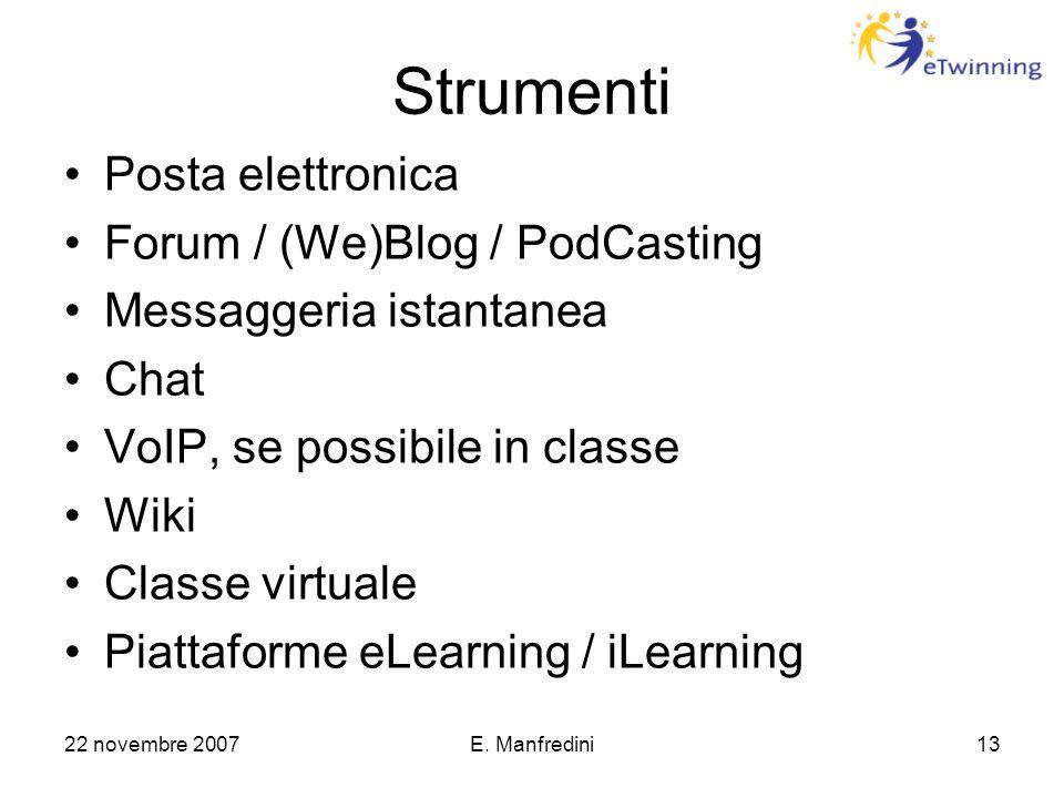 22 novembre 2007E. Manfredini13 Strumenti Posta elettronica Forum / (We)Blog / PodCasting Messaggeria istantanea Chat VoIP, se possibile in classe Wik