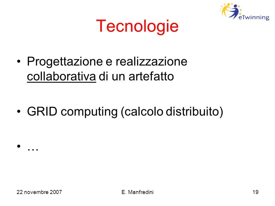 22 novembre 2007E. Manfredini19 Tecnologie Progettazione e realizzazione collaborativa di un artefatto GRID computing (calcolo distribuito) …