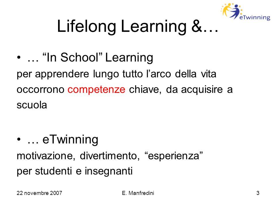 """22 novembre 2007E. Manfredini3 Lifelong Learning &… … """"In School"""" Learning per apprendere lungo tutto l'arco della vita occorrono competenze chiave, d"""
