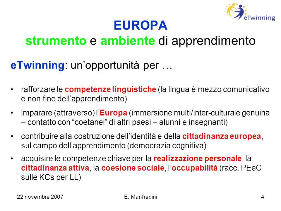 22 novembre 2007E. Manfredini4 EUROPA strumento e ambiente di apprendimento eTwinning: un'opportunità per … rafforzare le competenze linguistiche (la