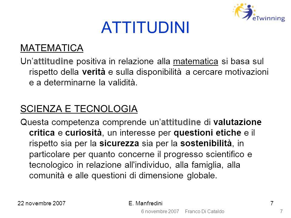 22 novembre 2007E. Manfredini7 ATTITUDINI MATEMATICA attitudine Un'attitudine positiva in relazione alla matematica si basa sul rispetto della verità