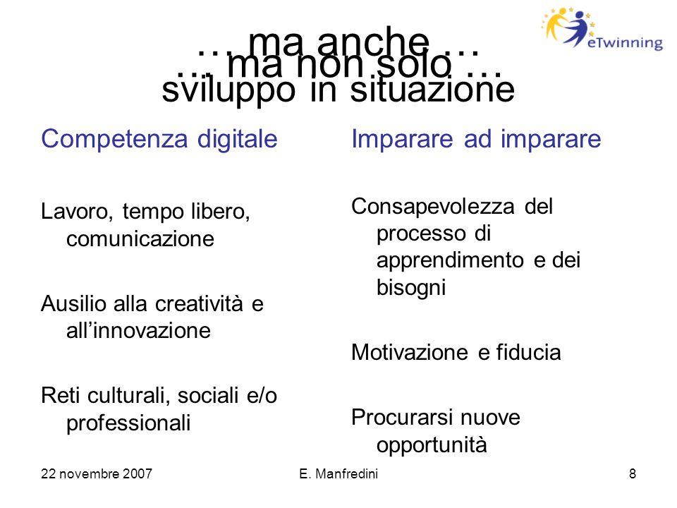 22 novembre 2007E. Manfredini8 … ma anche … sviluppo in situazione Competenza digitale Lavoro, tempo libero, comunicazione Ausilio alla creatività e a