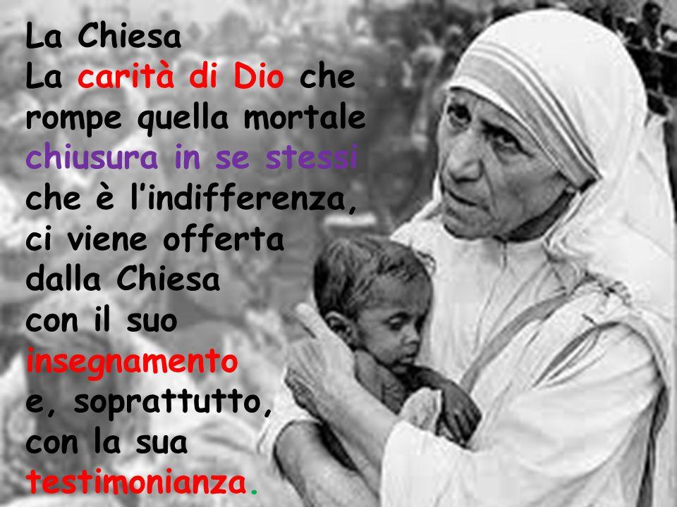 La Chiesa La carità di Dio che rompe quella mortale chiusura in se stessi che è l'indifferenza, ci viene offerta dalla Chiesa con il suo insegnamento e, soprattutto, con la sua testimonianza.