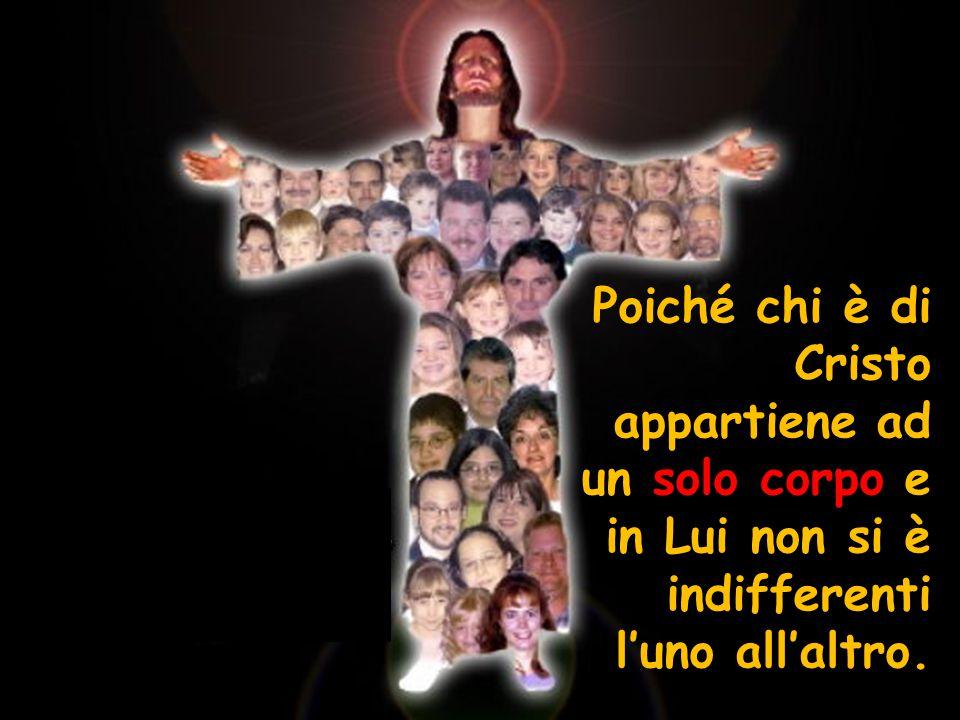 Poiché chi è di Cristo appartiene ad un solo corpo e in Lui non si è indifferenti l'uno all'altro.