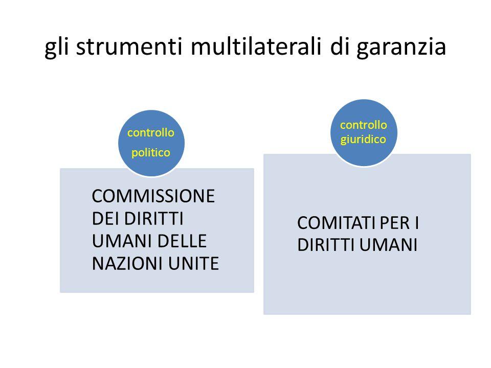 gli strumenti multilaterali di garanzia COMMISSIONE DEI DIRITTI UMANI DELLE NAZIONI UNITE controllo politico COMITATI PER I DIRITTI UMANI controllo giuridico